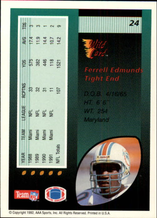 1992 Wild Card #24 Ferrell Edmunds back image