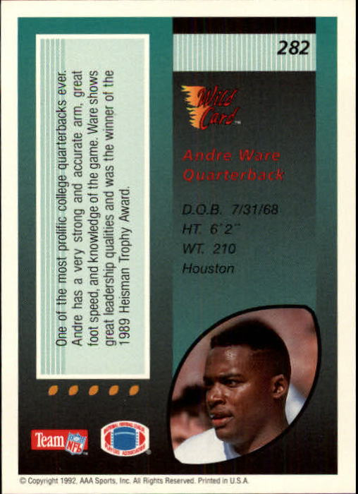 1992 Wild Card #282 Andre Ware back image