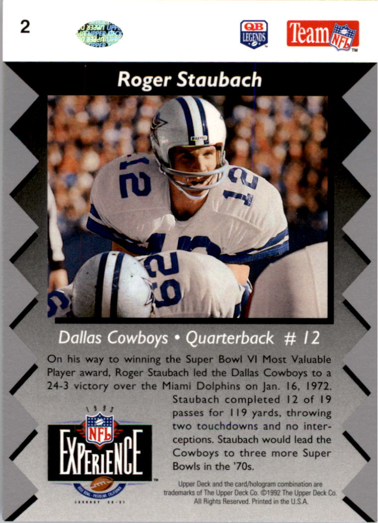 1992-93 Upper Deck NFL Experience #2 Roger Staubach MVP back image