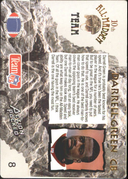 1993 Action Packed All-Madden #8 Darrell Green back image