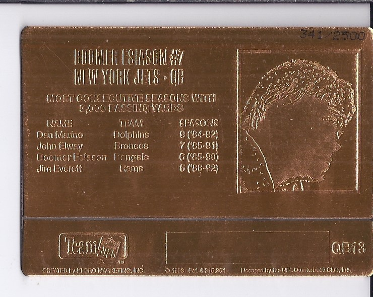 1993 Action Packed Quarterback Club Mint #QB13 Boomer Esiason back image