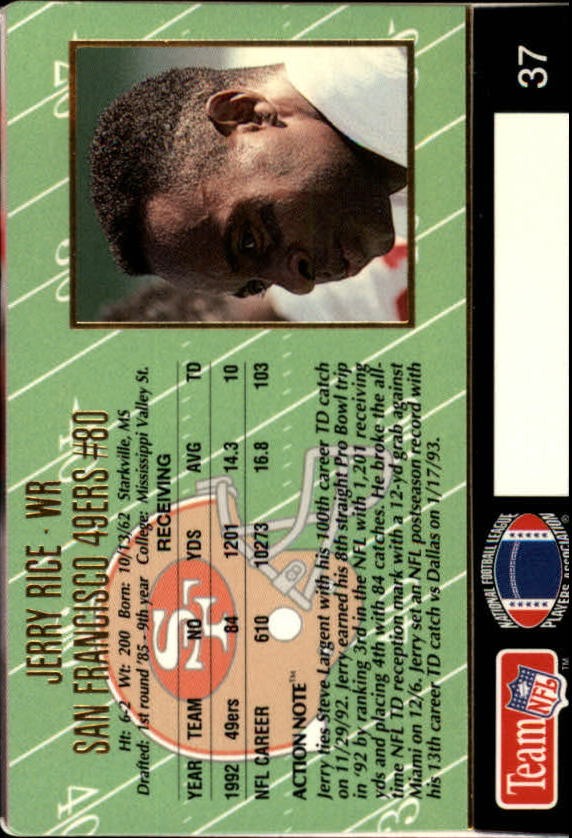 1993 Action Packed #37 Jerry Rice back image