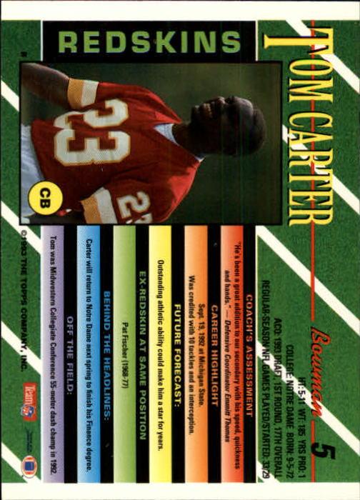 1993 Bowman #5 Tom Carter RC back image