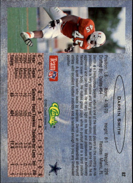 1993 Classic #82 Darrin Smith back image