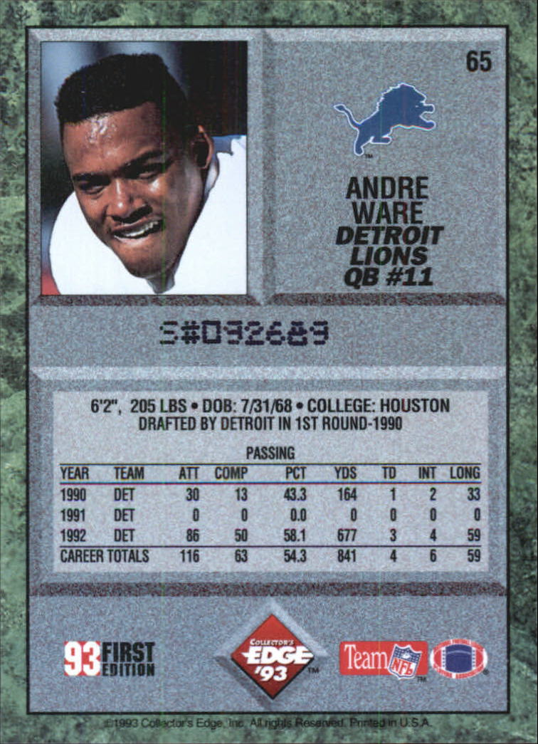 1993 Collector's Edge #65 Andre Ware back image