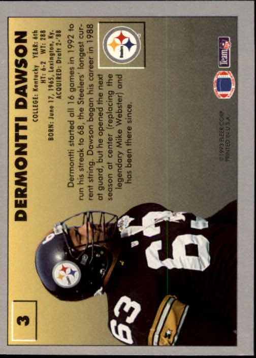 1993 Fleer #3 Dermontti Dawson back image