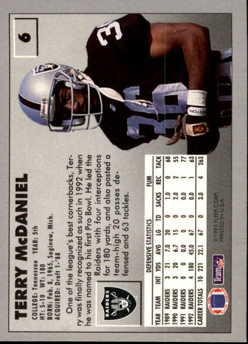 1993 Fleer #6 Terry McDaniel back image