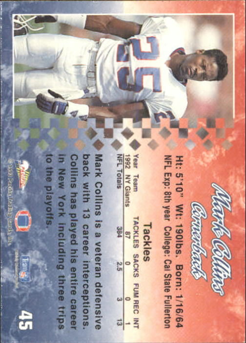 1993 Pacific #45 Mark Collins back image