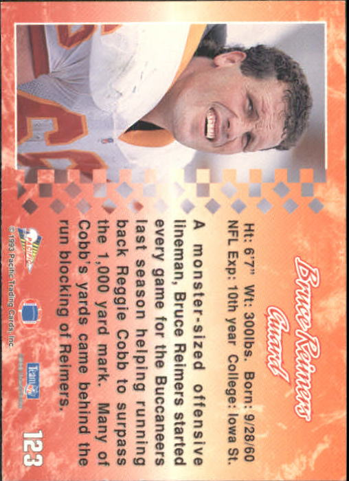 1993 Pacific #123 Bruce Reimers back image