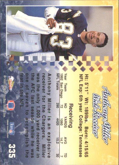 1993 Pacific #335 Anthony Miller back image
