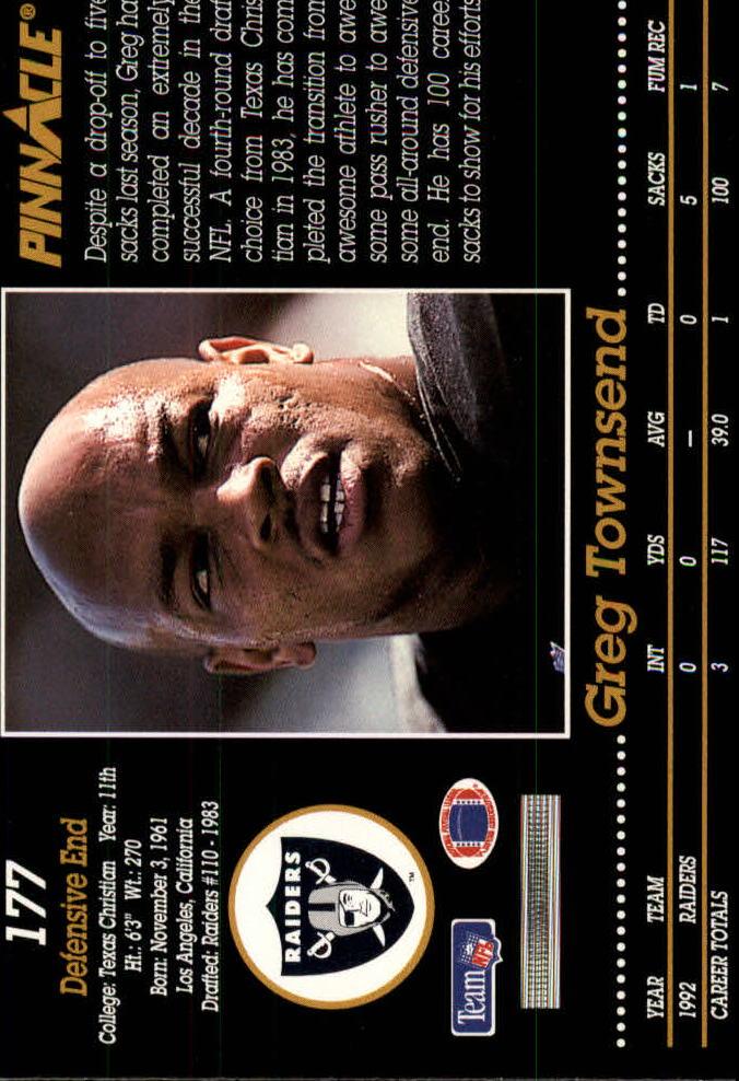 1993 Pinnacle #177 Greg Townsend back image