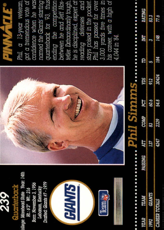 1993 Pinnacle #239 Phil Simms back image