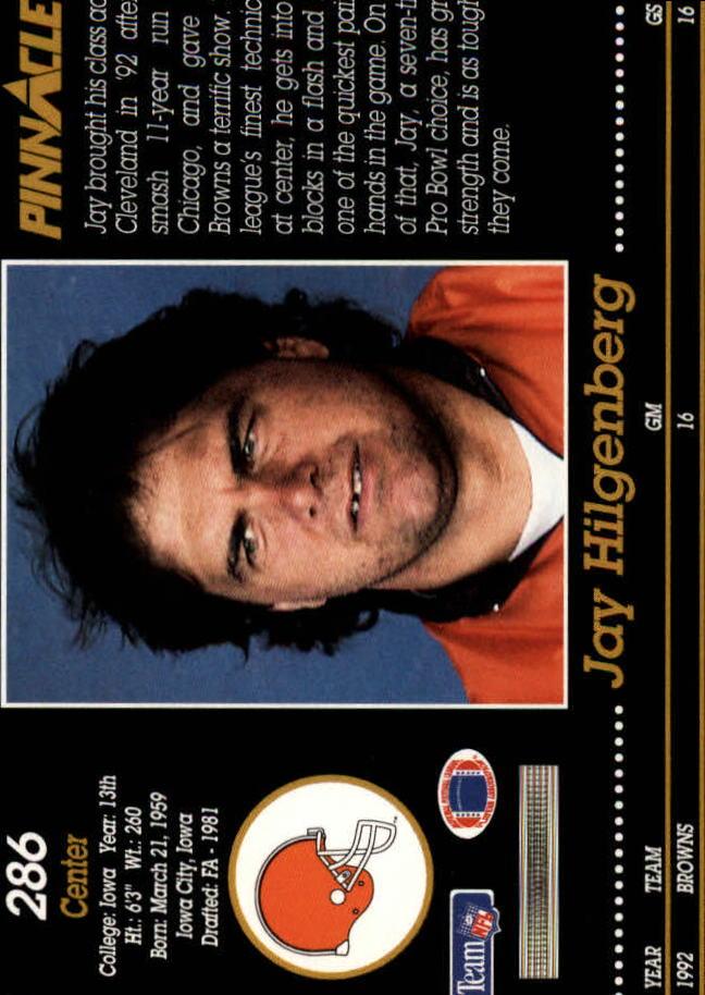 1993 Pinnacle #286 Jay Hilgenberg back image