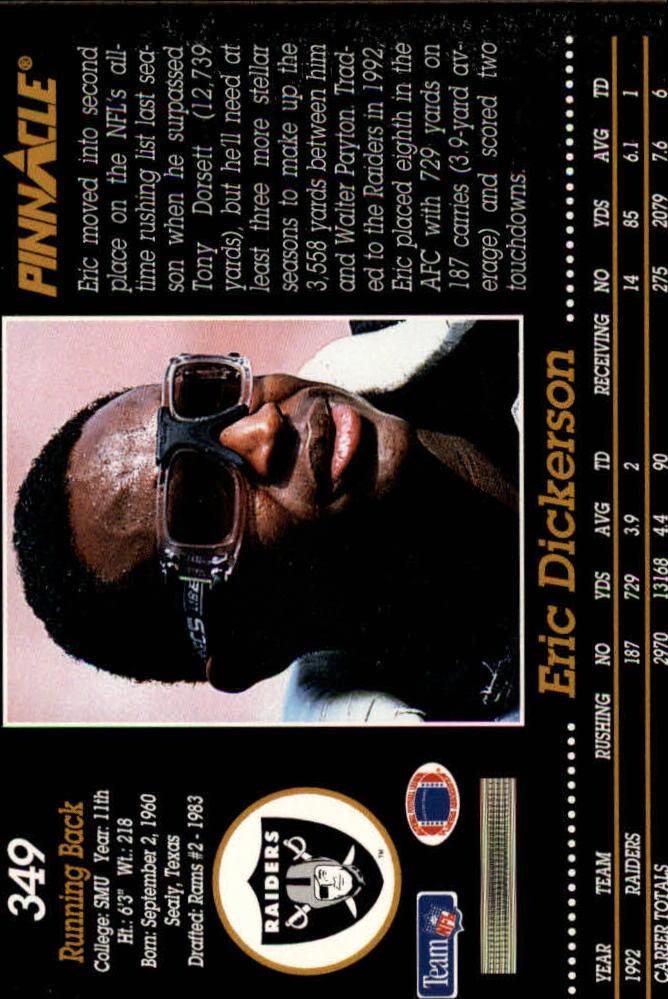 1993 Pinnacle #349 Eric Dickerson back image