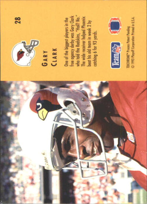 1993 Playoff Contenders #28 Gary Clark back image