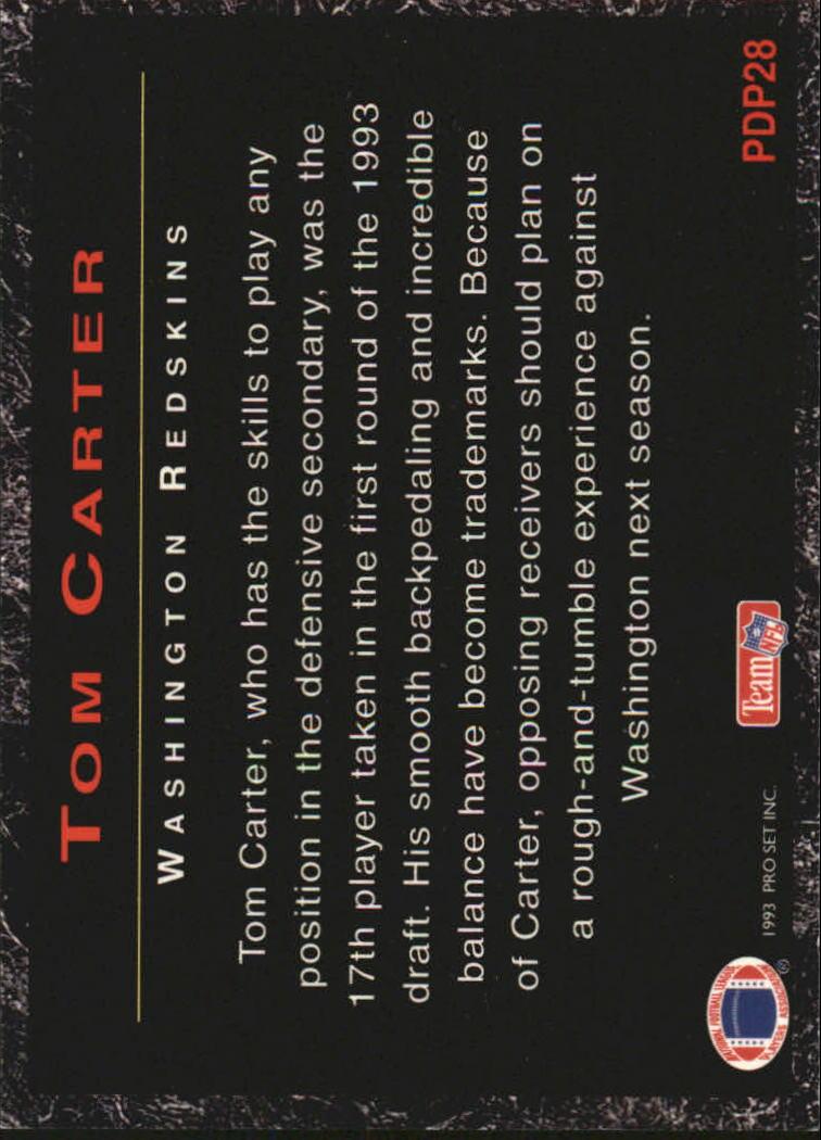 1993 Power Draft Picks #PDP28 Tom Carter back image