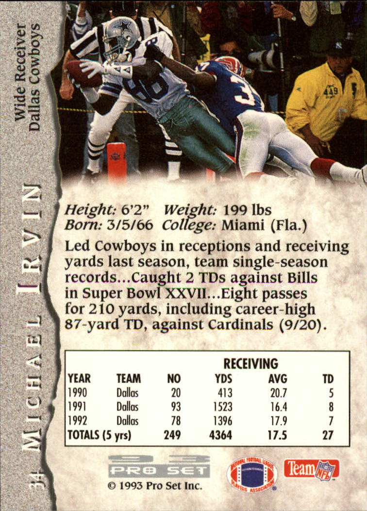 1993 Pro Set #34 Michael Irvin back image