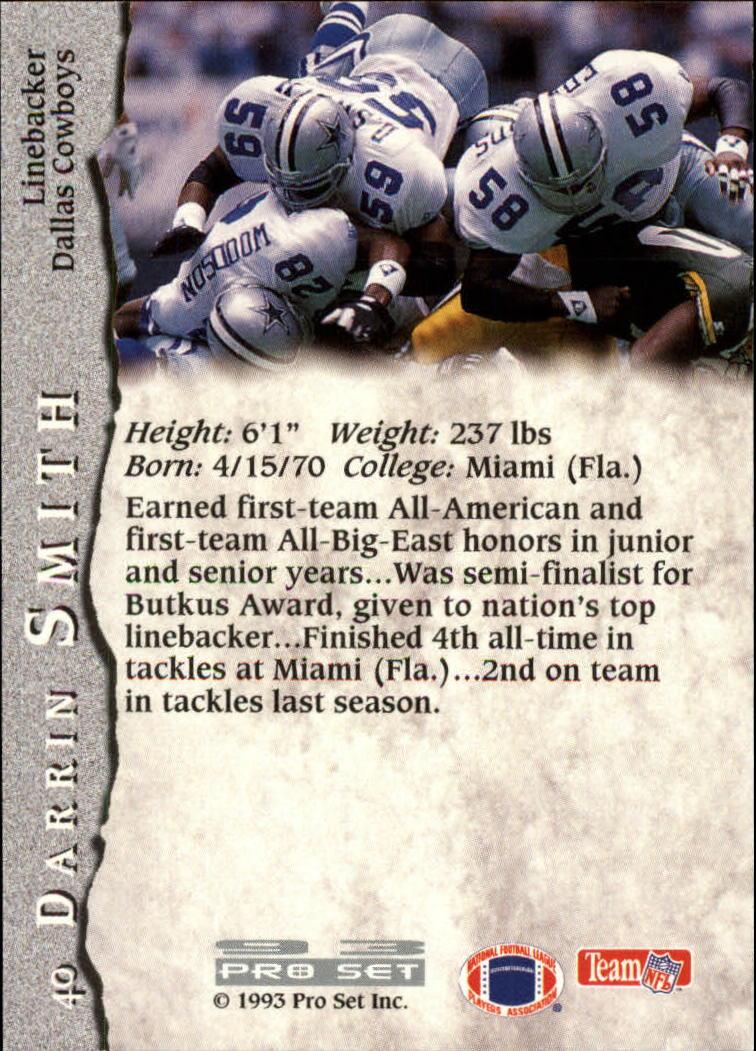 1993 Pro Set #40 Darrin Smith RC back image