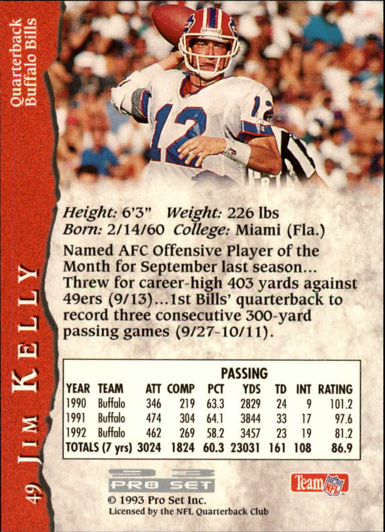 1993 Pro Set #49 Jim Kelly back image