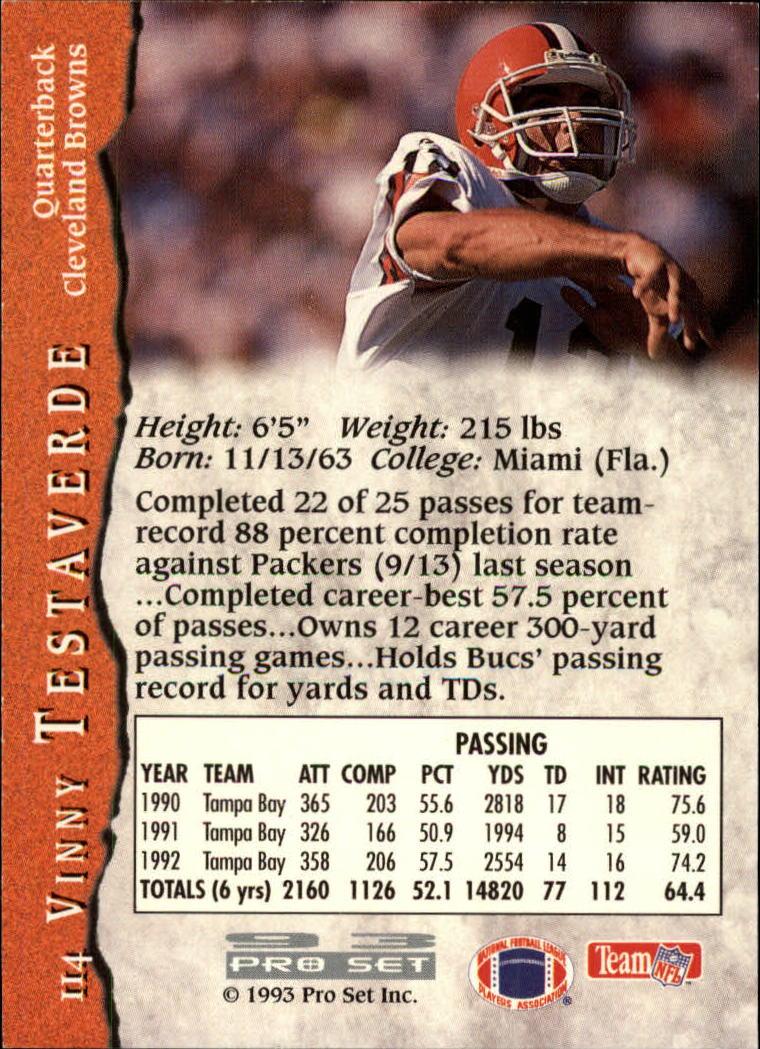 1993 Pro Set #114 Vinny Testaverde back image