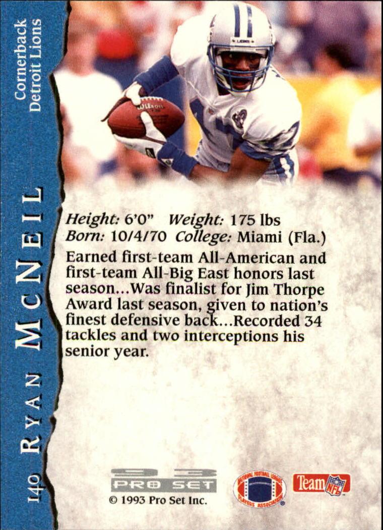 1993 Pro Set #140 Ryan McNeil RC back image