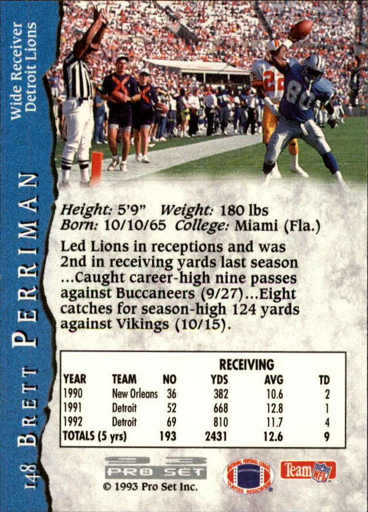 1993 Pro Set #148 Brett Perriman back image