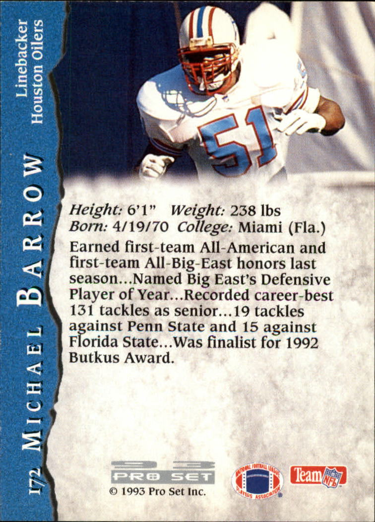 1993 Pro Set #172 Micheal Barrow UER RC back image