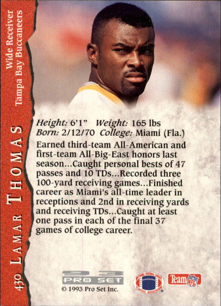 1993 Pro Set #430 Lamar Thomas RC back image