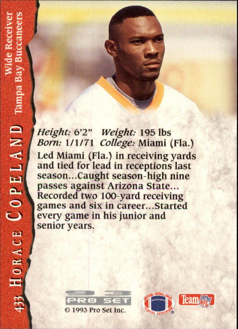 1993 Pro Set #433 Horace Copeland RC back image