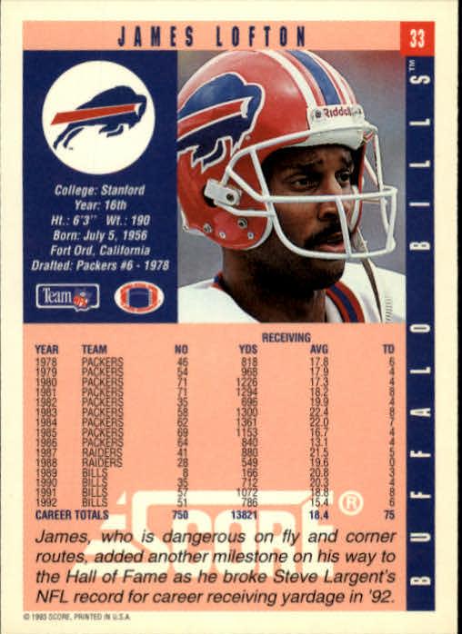 1993 Score #33 James Lofton back image