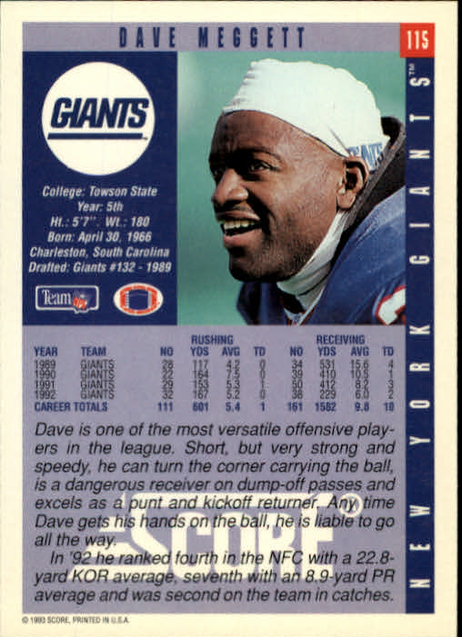 1993 Score #115 Dave Meggett back image