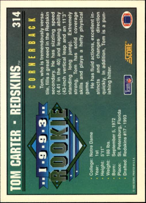 1993 Score #314 Tom Carter RC back image