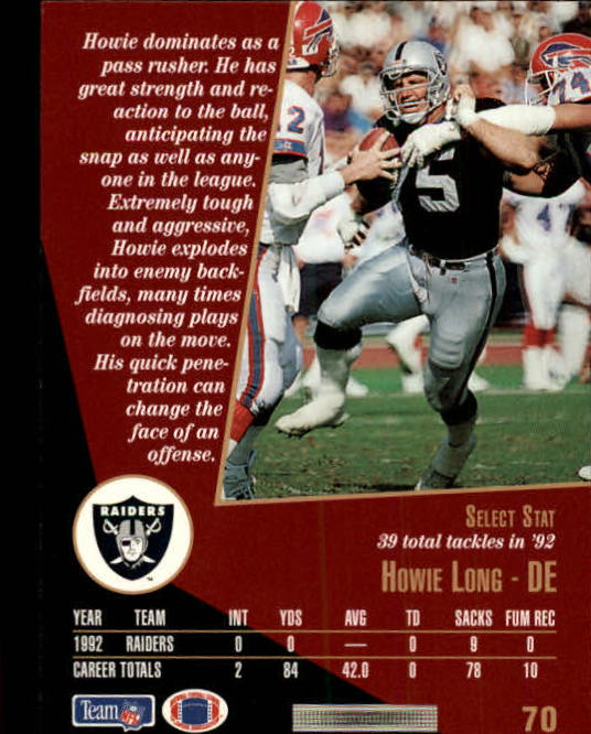 1993 Select #70 Howie Long back image