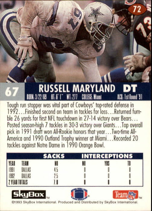 1993 SkyBox Impact #72 Russell Maryland back image