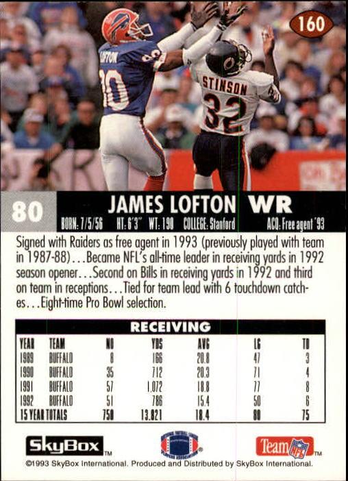 1993 SkyBox Impact #160 James Lofton back image