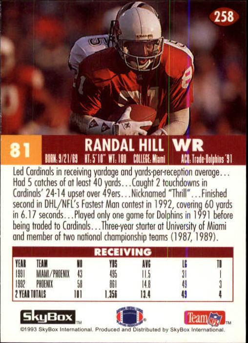 1993 SkyBox Impact #258 Randal Hill UER/(Name misspelled/Randall on front) back image