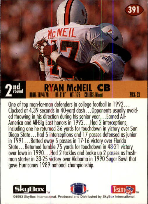 1993 SkyBox Impact #391 Ryan McNeil IR RC UER/(Name misspelled/McNeill on front) back image