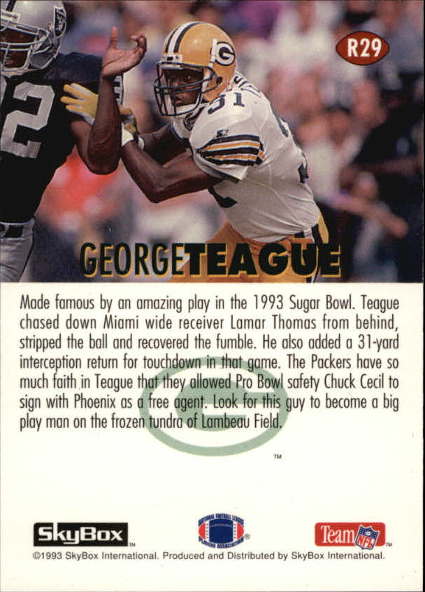 1993 SkyBox Impact Rookie Redemption #R29 George Teague back image