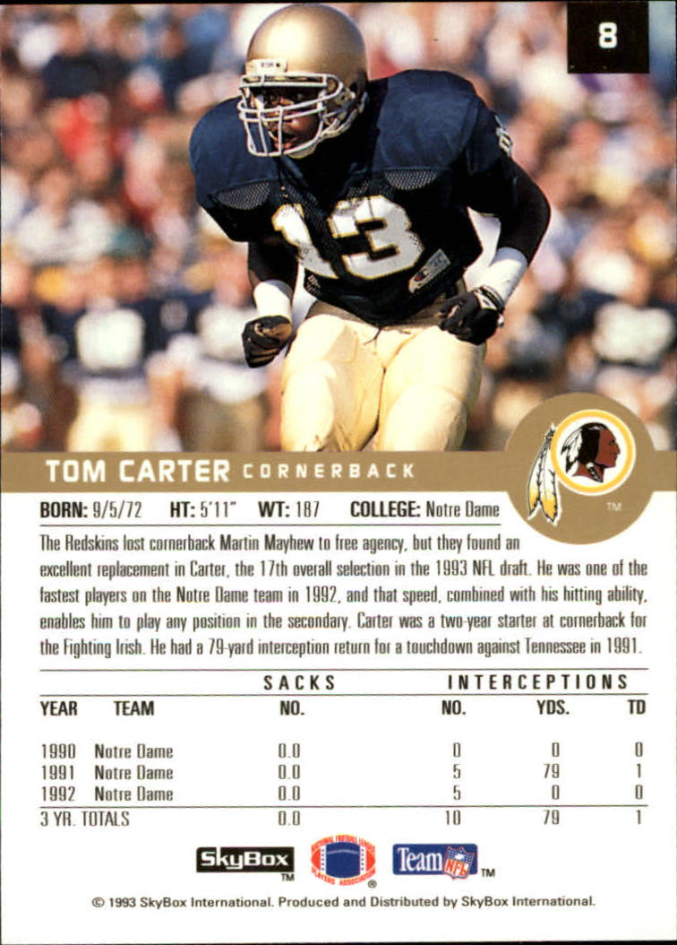 1993 SkyBox Premium #8 Tom Carter RC back image