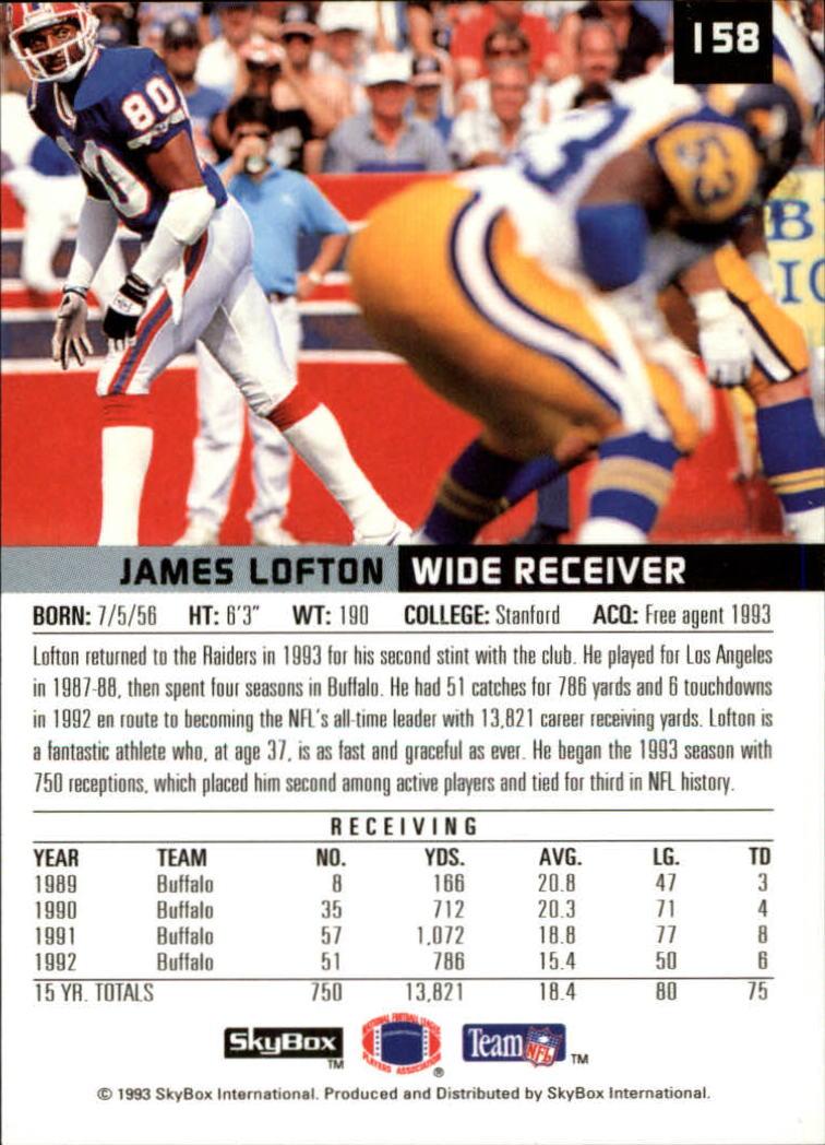 1993 SkyBox Premium #158 James Lofton back image