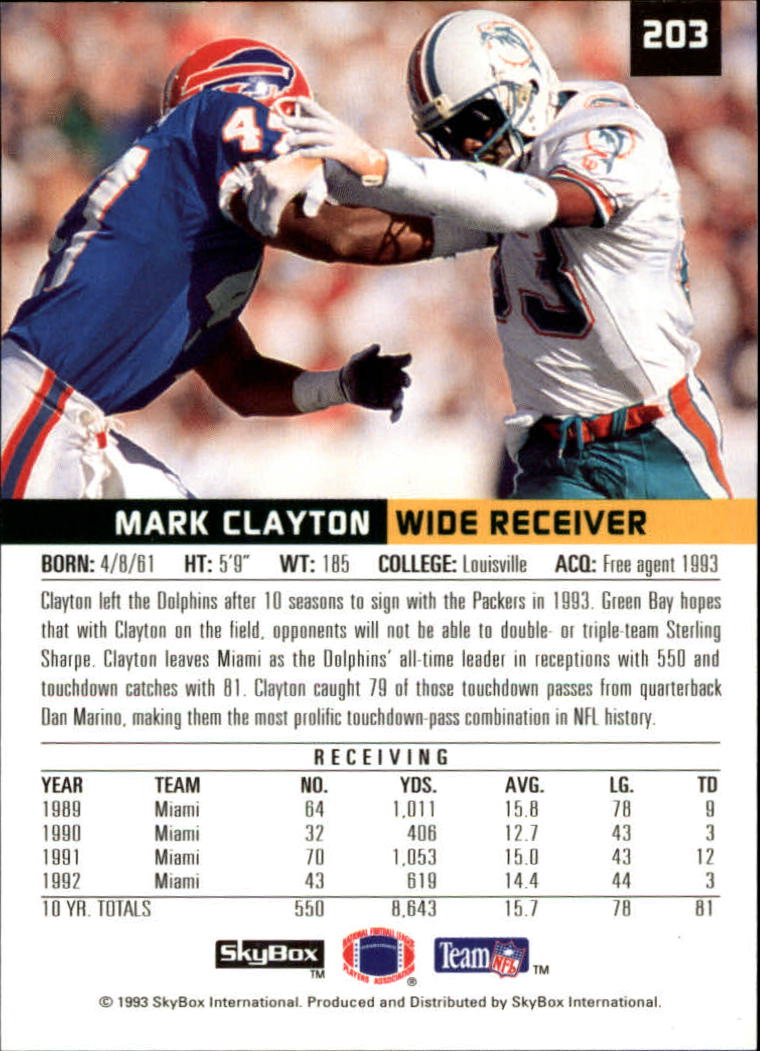 1993 SkyBox Premium #203 Mark Clayton back image