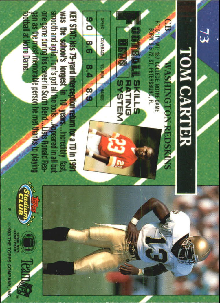 1993 Stadium Club #73 Tom Carter RC back image