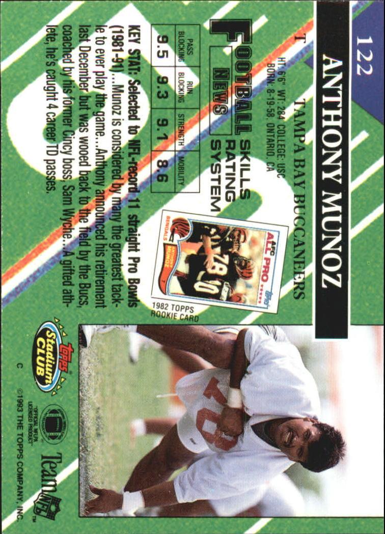 1993 Stadium Club #122 Anthony Munoz back image