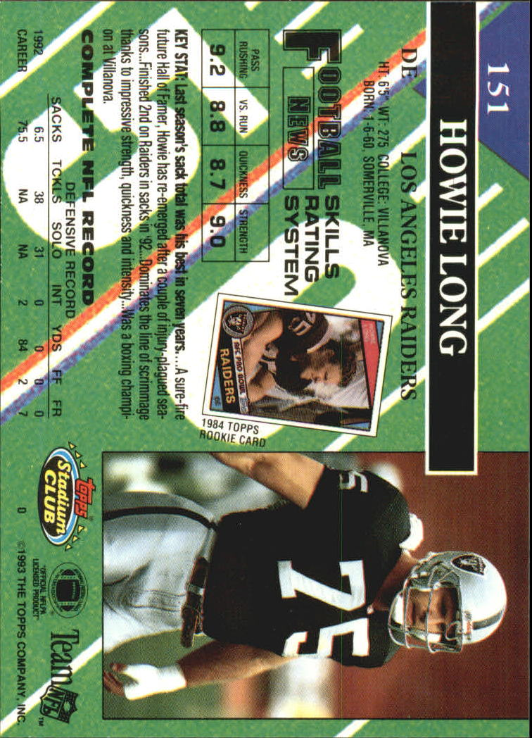 1993 Stadium Club #151 Howie Long back image