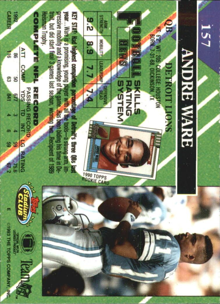 1993 Stadium Club #157 Andre Ware back image