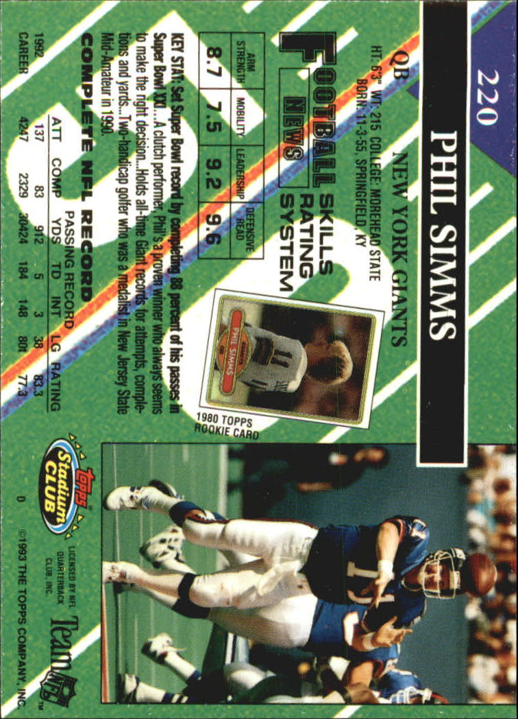 1993 Stadium Club #220 Phil Simms back image