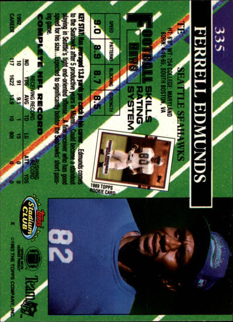 1993 Stadium Club #335 Ferrell Edmunds back image