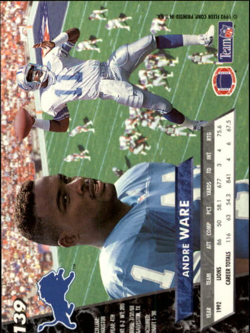 1993 Ultra #139 Andre Ware back image