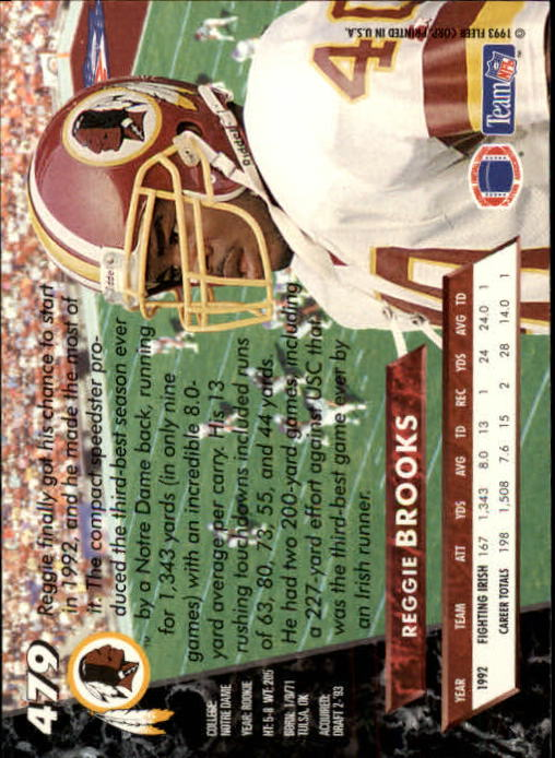 1993 Ultra #479 Reggie Brooks RC back image
