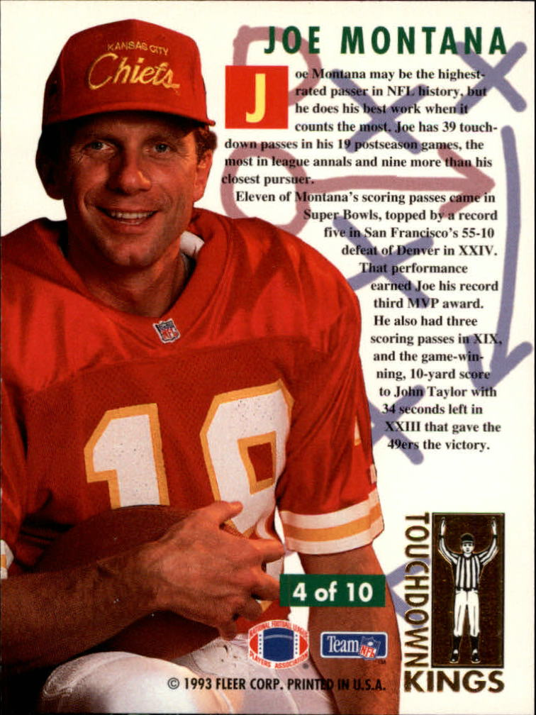 1993 Ultra Touchdown Kings #4 Joe Montana back image
